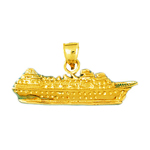 14k gold luxury cruise ship charm pendant