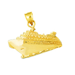 14k gold cruise ship and waves charm pendant