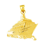 14k gold ocean cruise ship and waves charm pendant