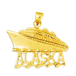 14k gold 25mm alaska cruise ship charm pendant