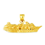 14k gold jamaica cruise ship charm pendant