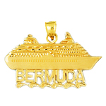 14k gold 32mm bermuda cruise ship charm pendant