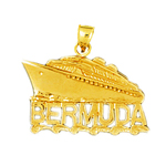 14k gold 25mm bermuda cruise ship charm pendant