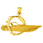 14k gold speed boat through ring of fire pendant