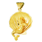 14k gold 3d mermaid sitting in seashell charm pendant