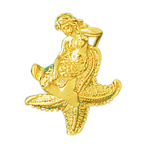 14k gold 3d mermaid sitting on starfish charm pendant
