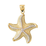 14k two tone gold starfish pendant