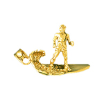 14k gold 3d surfing with waves pendant