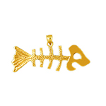 14 karat gold fish skeleton pendant