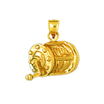 14k gold fishing reel charm