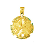 14kt gold seashell sand dollar charm