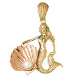 14k two tone gold mermaid holding a seashell pendant