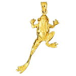 14k gold 35mm frog pendant