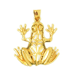 14k gold filigree frog pendant
