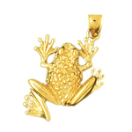 14k gold 25mm beaded frog charm pendant