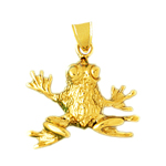 14k gold eyes popped frog charm pendant