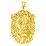 14k gold lion face charm pendant