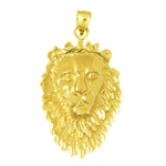 14k gold 34mm lion head charm pendant