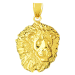 14k gold 35mm lion head charm pendant