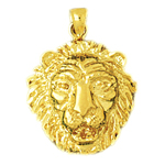 14k gold 20mm lion head charm pendant