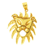 14k gold caricature lion head charm pendant