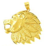 14k gold lion head profile charm pendant