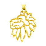 14k gold 20mm filigree lion head charm pendant