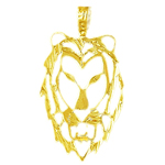 14k gold 32mm filigree lion head charm pendant