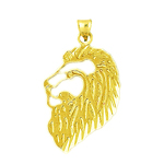 14k gold 22mm cut-out lion face charm pendant