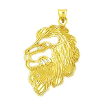 14k gold cut-out lion face charm pendant