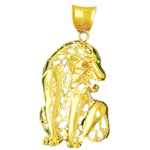 14k gold filigree lion charm pendant