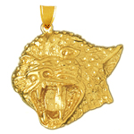 14k gold jaguar head charm pendant