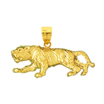 14k gold 32mm tiger charm pendant