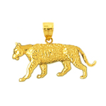 14k gold 26mm tiger charm pendant