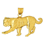 14k gold ornate tiger charm pendant