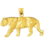 14k gold muscular tiger charm pendant