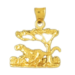 14k gold safari jaguar charm pendant