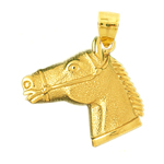 14k gold horse head with bridle pendant