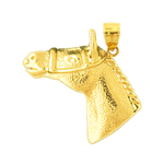 14k gold bridled horse head pendant