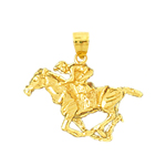 14k gold 3d galloping horse charm