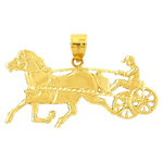 14k gold harness racing horse pendant