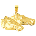 14k gold bridled two horse heads pendant