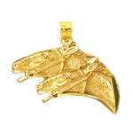 14kt gold bridled two horse heads pendant