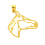 14k gold cut-out horse head pendant