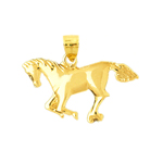 14kt gold galloping horse pendant