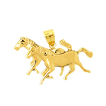 14kt gold double horse heads pendant