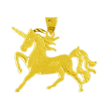 14k gold 26mm unicorn pendant