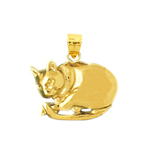 14kt gold cat charm