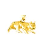 14k gold prowling cat charm