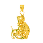 14k gold cat with calf charm